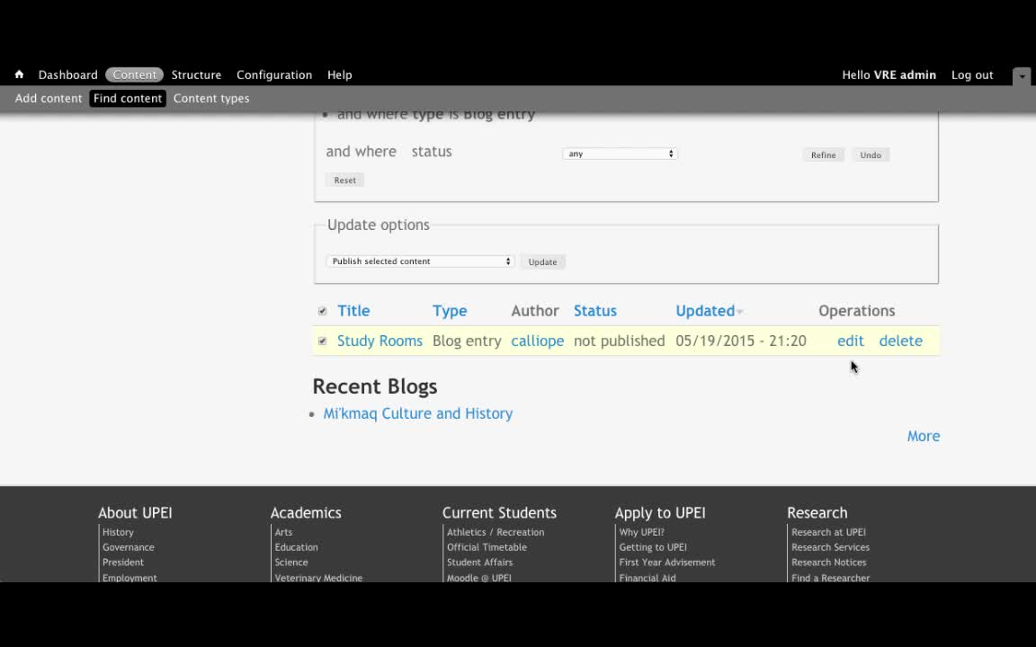 Publish a Blog with a VRE Admin Role