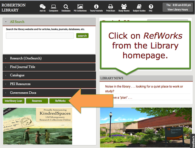 Click on RefWorks from the Library Homepage