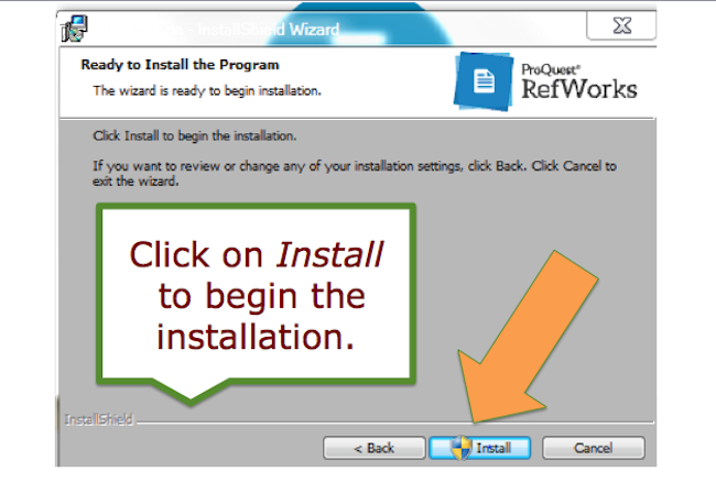 Click on Install to begin the  installation.