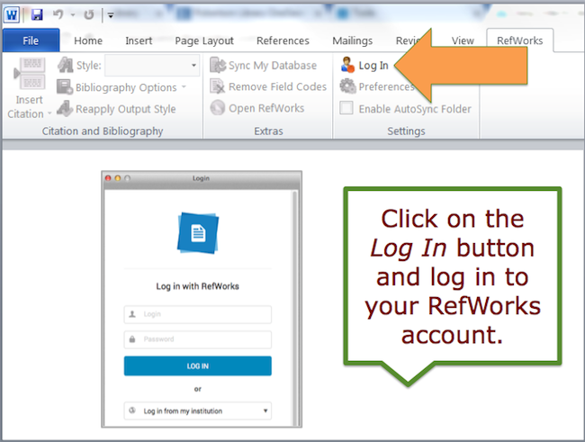 Click on the Log In button and log in to your RefWorks account.