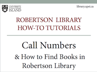 Call Numbers & How to Find Books in Robertson Library