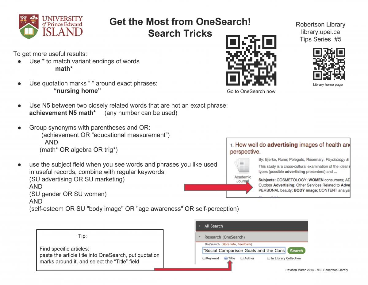 OneSearch tips - special limiters for discipline, geography and more