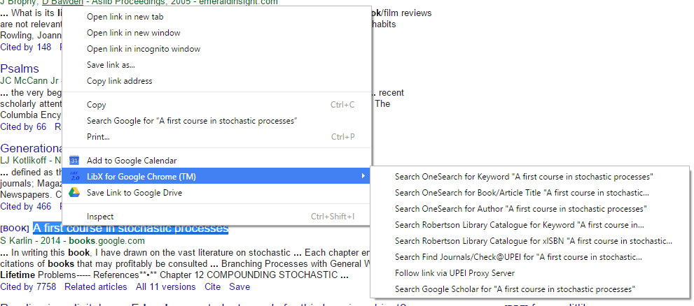A sample screenshot of what the LibX context (right click) menu looks like with text selected