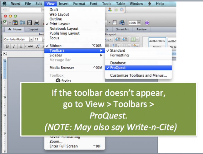 Go to View Toolbars ProQuest or Write-n-Cite